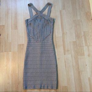 Bebe silver embellished bandage dress